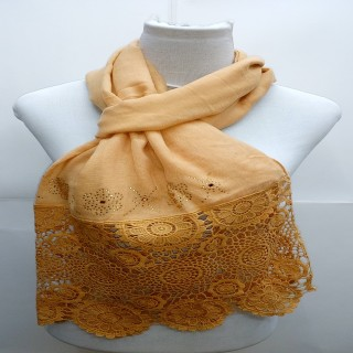 Premium Half Net Diamond Stole- Brown
